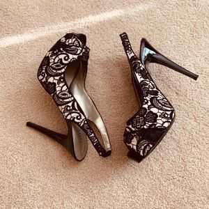 Guess Sling Back Lace Heels